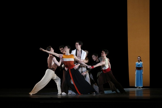 The first-night cast (Marcelo Gomes front and center) of Alexei Ratmansky's Serenade after Plato's Symposium. Photo: Marty Sohl
