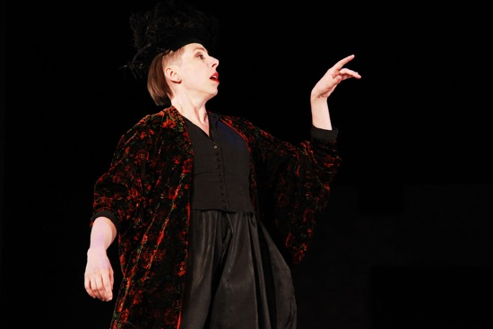 Deborah Lohse, hatted and gowned as Carabosse in Beauty and the Beast. Photo: Theo Cote