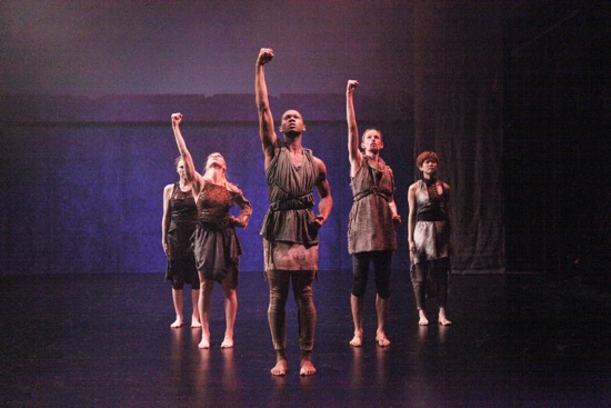 (L to R): iffany Mills, Emily Pope-Blackman, Kyle Marshall, Jordan Morley, Mei Yamanaka. Photo: Theo Cote for La MaMa