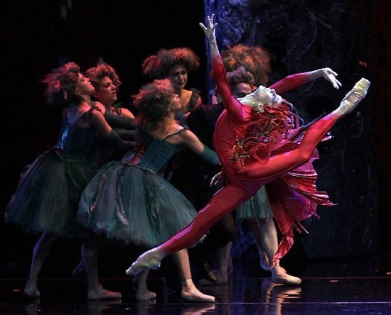 The original cast of Alexei Ratmansky's Firebird, with Natalia Osipova leaping and enchanted maidens behind her. Photo: Gene Schiavone