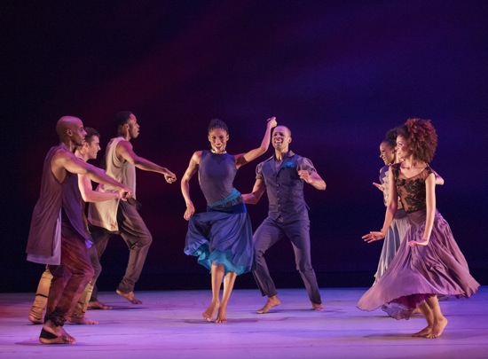 Ronald K. Brown's Open Door. Center: Jacqueline Green and Yannick Lebrun. Left, front to back: Collin Heyward, Michael Francis McBride, and Jeroboam Bozeman. Right, front to back (visible): Fana Tesfagiorgis, and Jacquelin Harris. Photo: Paul Kolnick