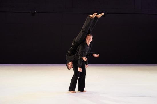 William Tomaskovic (upside down) and Derek Crescenti of Ten Hairy Legs in David Parker's Slapstuck. Photo: Rachel Neville