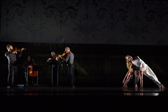 Wendy Whelan and Brian Brooks in Some of a Thousand Words, with (L to R) Colin Jacobsen, Michael Nicolas, Nicholas Cords, and Johnny Gandelsman. Photo: Hayim Heron
