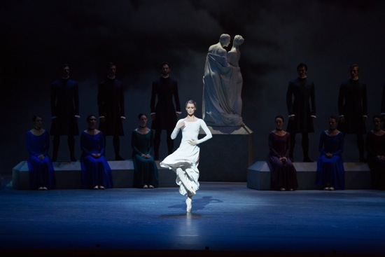 Hannah Fischer as Hermione dances alone, accused of adultery in Act I of The Winter's Tale. Photo: Rosalie O'Connor