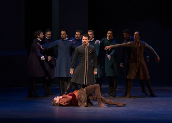 Piotr Stanczyk (Leontes), Harrison James (Polixenes) and Artists of The National Ballet of Canada in Christopher Wheeldon's The Winter's Tale, Act I. Photo:Rosalie O'Connor