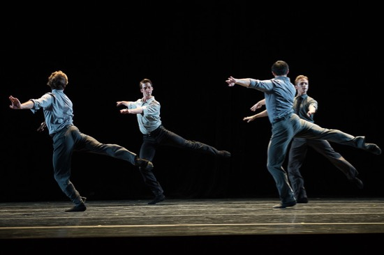 One of the PNB casts in Benjamin Millepied's 3 Movements. (L to R): Matthew Renko, Miles Pertl, Christian Poppe, and David Wald. Photo: Christopher Duggan