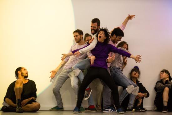 Yasmeen Godder's Climax (second half). Performers (L to R): Uri Shafir, Yuli Kovbasnian, Edu Turull Montells, Shuli Enosh, Ofir Yudilevitch, and Dor Frank. Photo: Scott Shaw