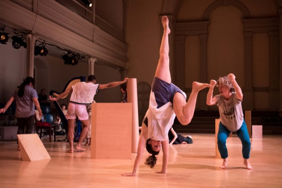 Jennifer Monson's/iLAND's in tow at Danspace Project. Visible (L to R): Valerie Oliveiro, Niall Jones, nibla pastrana santiago, and Jennifer Monson. Photo: Ian Douglas/Courtesy Danspace Project
