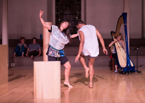 DD Dorvillier, Niall Jones, and Zeena Parkins in in tow. Photo: Ian Douglas/Courtesy Danspace Project