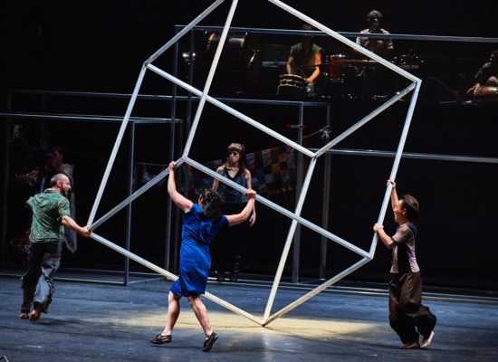 Spinning one of Anthony Gormley's structures in Babel (words), by Sidi Larbi Cherkaoui and Damien Jalet. (L to R): Damien Fournier, Paea Leach, and Sang-Hun Lee. Standing at back: Ulrika Kinn Svensson. Photo: Robert Altman