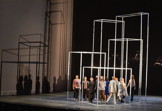 The cast of Babel (words) in Anthony Gormley's transformable set. Photo: Robert Altman