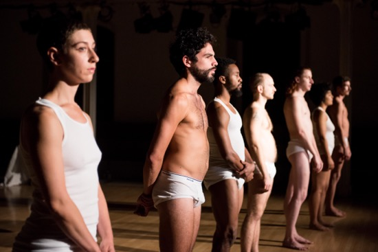 The cast at the beginning of Variations on Themes from Lost and Found: Scenes from a Life and other works by John Bernd. (L to R): Talya Epstein, Alvaro Gonzalez, Johnnie Cruise Mercer, Alex Rodabaugh, Tony Carlson, Madison Krekel, and Charles Gowin. Photo: Ian Douglas