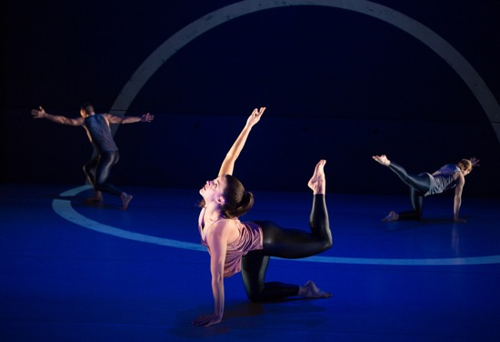 Kay Rosen's design, Liz Gerring's choreography. (L to R): Brandon Collwes, Claire Westby, and Julia Jurgilewicz. Photo: Yi-chun Wu
