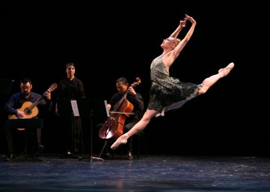 Vail Dance Festival: ReMix NYC: Sara Mearns in Alexei Ratmansky's Fandango. At back: (L to R): Scott Borg, Elena Heiss, and Felix Fan of the FLUX Quartet. Photo: Erin Baiano