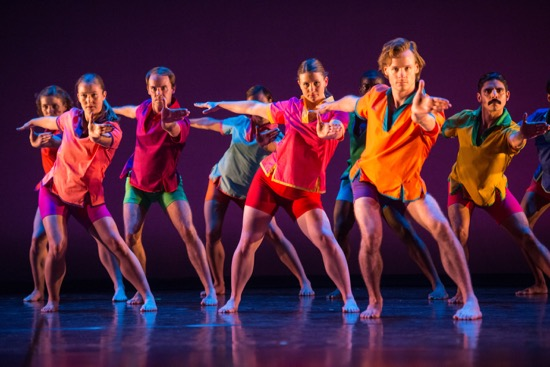 Mark Morris Dance Group in Morris's Pure Dance Items. Identifiable (L to R): Rita Donahue, Noah Vinson, Nicole Sabella, Billy Smith, Domingo Estrada, Jr. Photo: Stephanie Berger