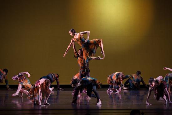 Juilliard Dance's Class of 2020 in John Heginbotham's First. Center:  Javon Jones lifts Lúa Mayenco Cardenal. Photo: Roasalie O'Connor