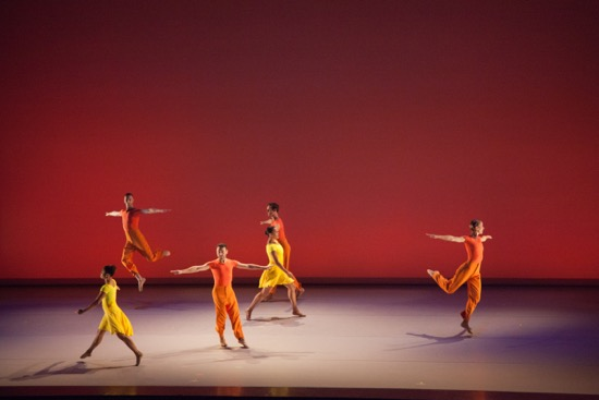 "The Lucinda Childs Dance Company's Shakirah Stewart, Lonnie Poupard Jr., Vincent McCloskey, Sarah Hillmon, Benny Olk, and Katie Dorn in ""Lollapalooza."" Photo by John Sisley."