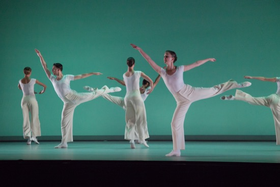 "The Lucinda Childs Dance Company's Katie Dorn, Patrick John O'Neill, Matt Pardo, Caitlin Scranton, and Anne Lewis in ""Canto Ostinato."" Photo by John Sisley."
