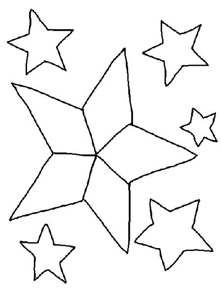 Free coloring pages of different size stars