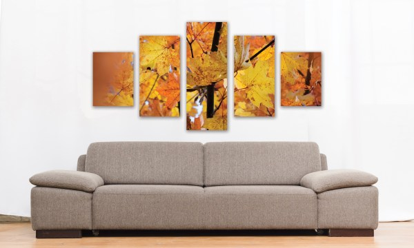 Tableau photo 5 parties automne