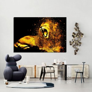 Tableau d'art abstrait Gold Lion