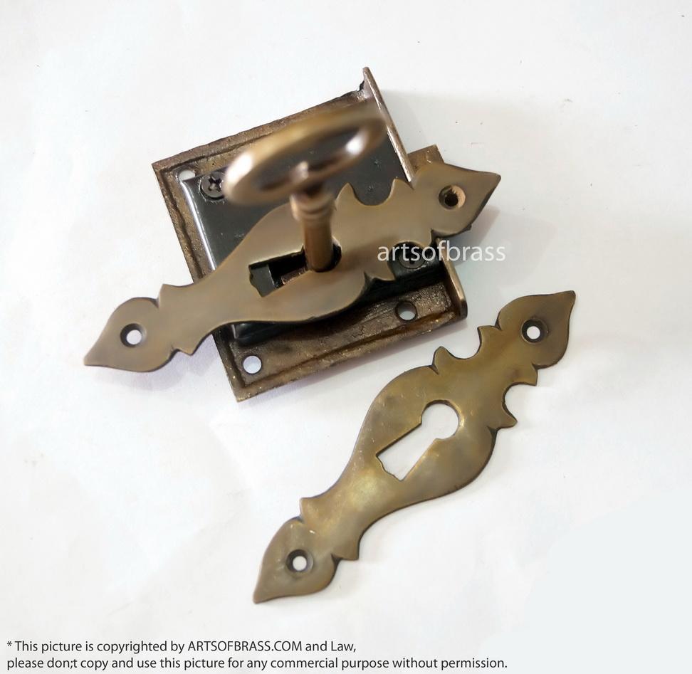 2 Custom Escutcheon Chippendale Key Hole Key Lock And