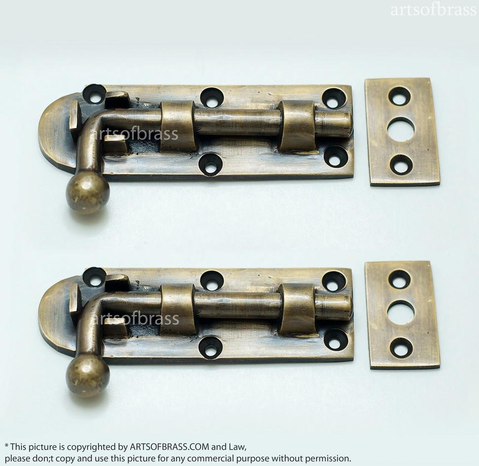 Brass Gate Latch : Quot inches lot of pcs vintage gate door latch slot
