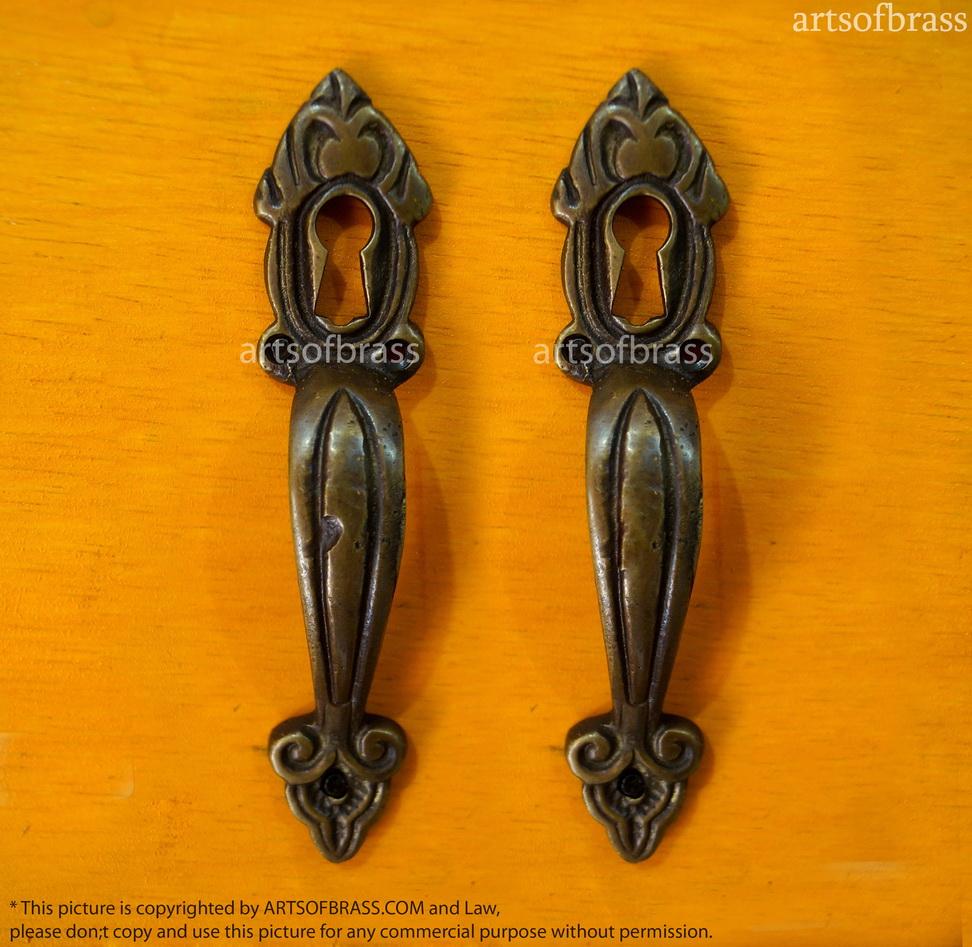 4 3 2 pcs vintage victorian key hole handle brass cabinet handle pulls - Antique peephole ...