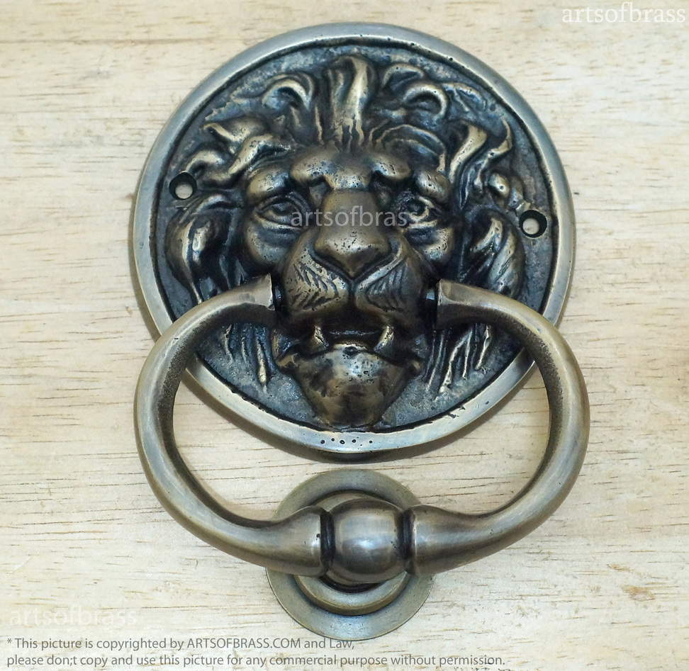 5 70 Quot Vintage Solid Brass Round Lion Door Knocker With