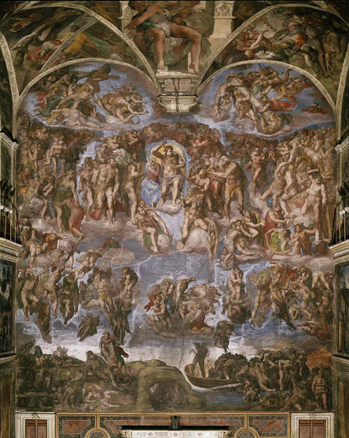 Michelangelo Buonarroti | Last Judgment | 1534-41 | Sistine Chapel, Vatican | photographed before the 1990-1994 restoration | Image and original data provided by SCALA, Florence/ART RESOURCE, N.Y.; artres.com | (c) 2006, SCALA, Florence/ART RESOURCE, N.Y.