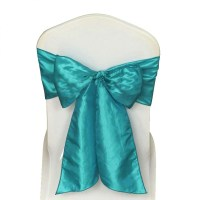 10 x Turquoise Satin Wedding Chair Sash 280x16cm Tie Bow Ties
