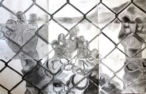 Refugees - a charcoal drawing-collaboration. Learn to Earn students exhibit at ISANG Annexe.