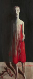Deborah Bell | See-Line Woman dressed in Red, Makes her Man lose his Head | 2012 | oil on canvas | 120 x 50 cm | Courtesy of Nina Lieska, Repro Pictures