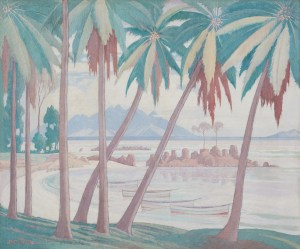JH Pierneef - A View Across Fishermans Cove, Seychelles, 1955, oil on canvas (Image Repro Pictures)