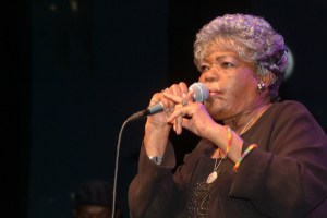 Thandi Klaasen performing with the South African Divas at the Shepherds Bush Empire