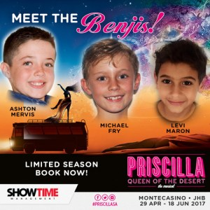 The three young actors who will star as Benji in the Joburg run of Priscilla Queen of the Desert.