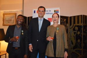 Ambassador Christophe Farnaud with Gregory Maqoma and Georgina Thomson - photo by Floriane Marsaud