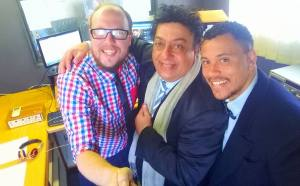 Quintin Wils (L) and Vianney Henry Farmer (R) with host Renos Spanoudes (C)