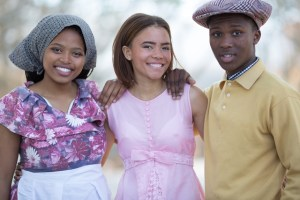 Avuxeni Tyala, Louise Fenix and Sibusiso Solilo, playing Hester, Mary and Henry respectively in the Woodridge College production of District Six: The Musical. Photograph: Liz Erasmus.