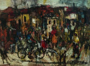 Ephraim Ngatane | Bicycle Rider | 1968 | oil on board | 79 x 109 cm | Photograph: Nina Lieska | Repro Pictures