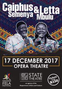 Duo Caiphus and Letta are set to perform a concert as part of the annual Mzansi Fela Festival at the State Theatre