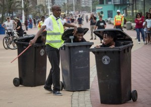 Dustbins – a delightful piece of comedy street theatre staged last year. Born Legends Productions will be doing a new piece this year, Coming Home. Photo: Vanessa Cracknell.