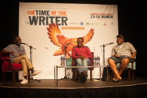 Time Of the Writer. Facilitator Russel Hlongwane (left) with writers Nakanjani Sibiya and Sabata-Mpho Mokae.