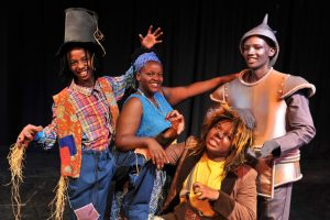 The Wiz: Lesedi Masheane as Scarecrow, Angella Mulaudzi as Dorothy, Tsepho Skosana as Tin Man and Nkosi Mnisi as Lion (Photo credit: Essie Esterhuisen).