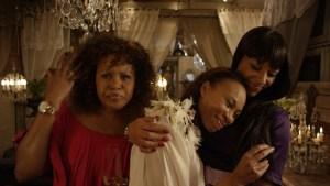 Bubu Mazibuko, Nondumiso Tembe and Lorcia Cooper in a scene from Zulu Wedding.