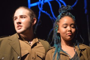 Keanu Sousa Mendez (Macbeth) and Jodi Russel (Banquo) in Macbeth.