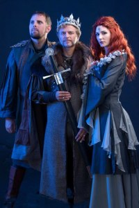 Lyle Buxton as Sir Lancelot, Steven Stead as King Arthur and Jessica Sole as Queen Guinevere. Photo by Val Adamson.