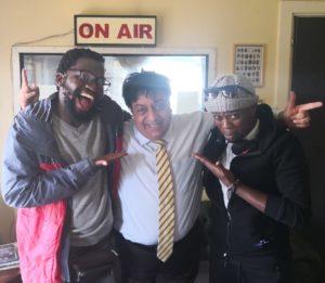 Jefferson 'J Bobs' Tshabalala (left) and Simphiwe Bonongo (right) with host Renos Spanoudes.