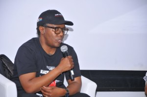 Celebrated director Mandlakayise Walter Dube announcing his new film in development, Black Samurai One: Legend of Yasuke, at Durban FilmMart 2019
