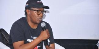 Celebrated director Mandlakayise Walter Dube announcing his new film in development, Black Samurai One: Legend of Yasuke, at Durban FilmMart 2019